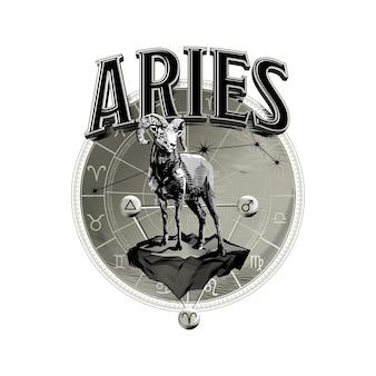 Astrologische vector hand getekend romantische mooie lijntekeningen van dierenriem aries illustration