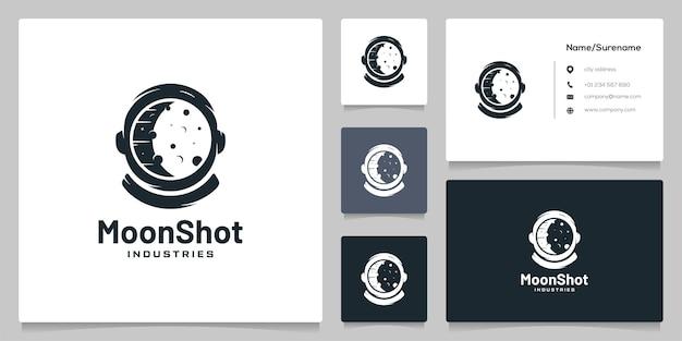 Astronaut abstracte kosmonaut helm ruimtevaarder moonshot logo ontwerp met visitekaartje