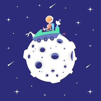 Astronaut berijdt maan rover oppervlaktemaan landingssatelliet maanmissie