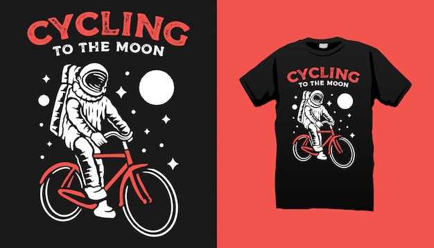 Astronaut bicycle t-shirtontwerp