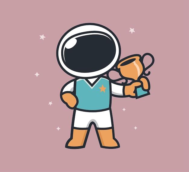 Astronaut brengt kampioenschapstrofee