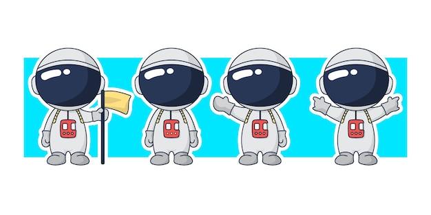 Astronaut cartoon character set illustration.