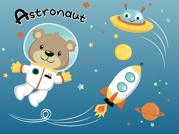 Astronaut cartoon in de ruimte