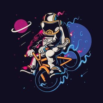 Astronaut cartoon karakter fietsten