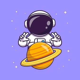 Astronaut controle planeet cartoon vector pictogram illustratie. wetenschap technologie pictogram concept geïsoleerd premium vector. platte cartoonstijl