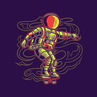 Astronaut cool met skateboard illustratie