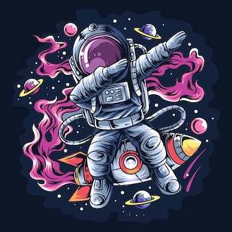 Astronaut deppen stijl op een ruimteraket met de sterren en planeten