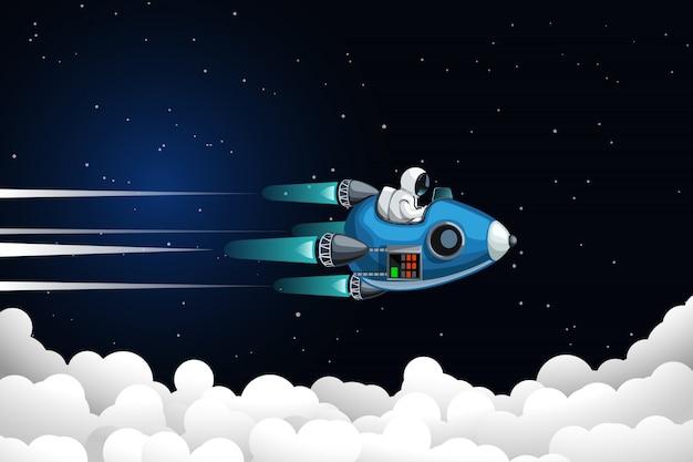 Astronaut die boven wolken vliegt