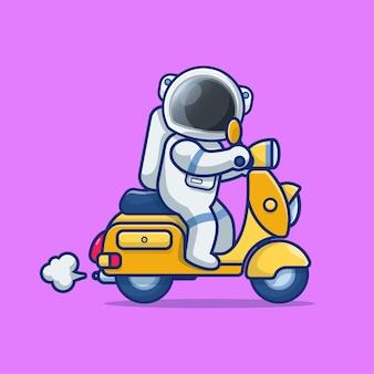 Astronaut die een gele illustratie van het autopedbeeldverhaal berijdt
