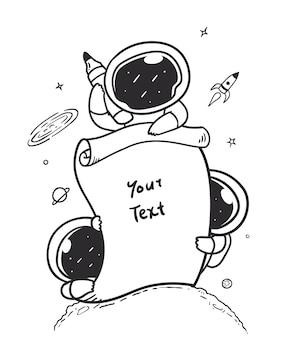 Astronaut die een stuk informatiepapier vasthoudt