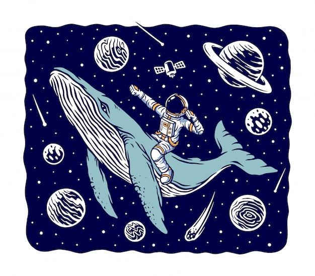 Astronaut die een walvisillustratie berijdt