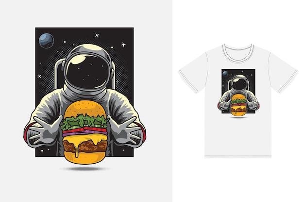 Astronaut die hamburgerillustratie eet met premium vector van het t-shirtontwerp