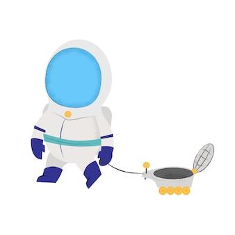 Astronaut die met maanvoertuig loopt. speelgoed, satelliet, ruimtepak.