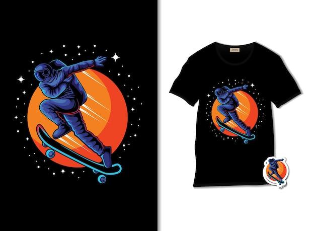Astronaut die met skateboardillustratie loopt