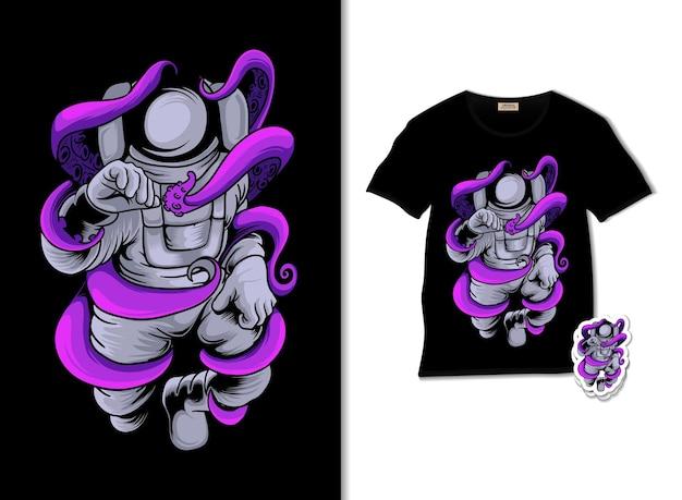 Astronaut die octopusillustratie met t-shirtontwerp vecht