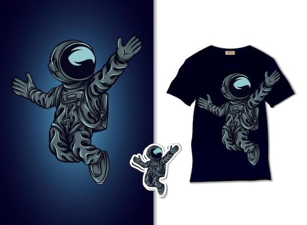 Astronaut die op ruimteillustratie drijft