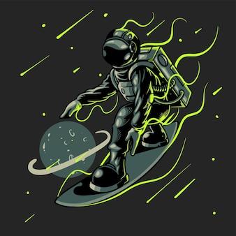 Astronaut die op zwarte ruimteachtergrond surft