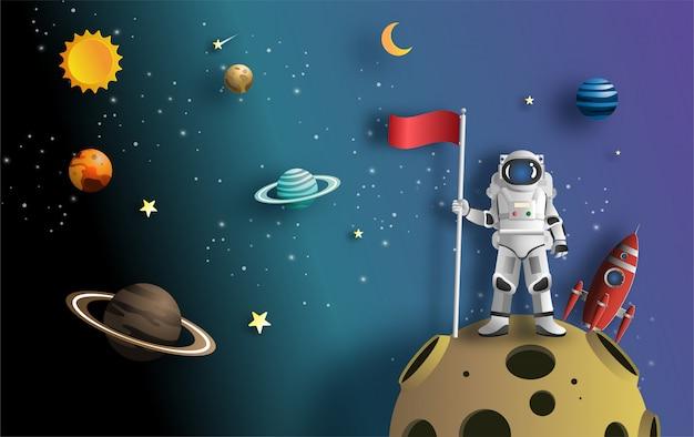 Astronaut die vlag op maan met ruimtevaartuig opheft.