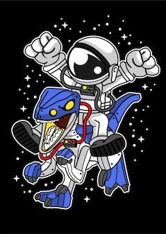 Astronaut dino robot illustratie in de hand getekend