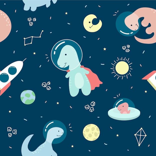 Astronaut dinosaurus karakter naadloos patroon