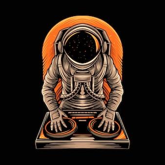 Astronaut disc jockey muziek illustratie