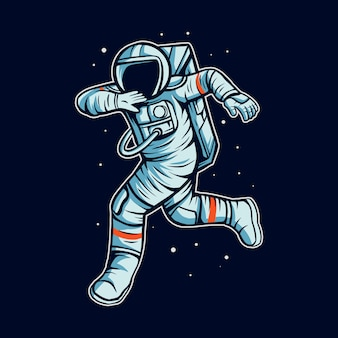 Astronaut draait op ruimte met kosmonaut pak illustratie