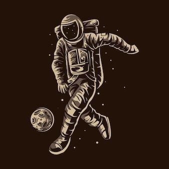Astronaut dribbelen bal voetbal voetbal illustratie