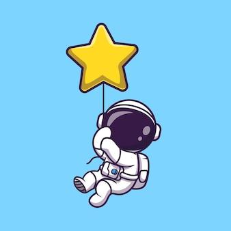 Astronaut drijvend met ster ballon cartoon vectorillustratie pictogram. wetenschap technologie pictogram concept geïsoleerd premium vector. platte cartoonstijl