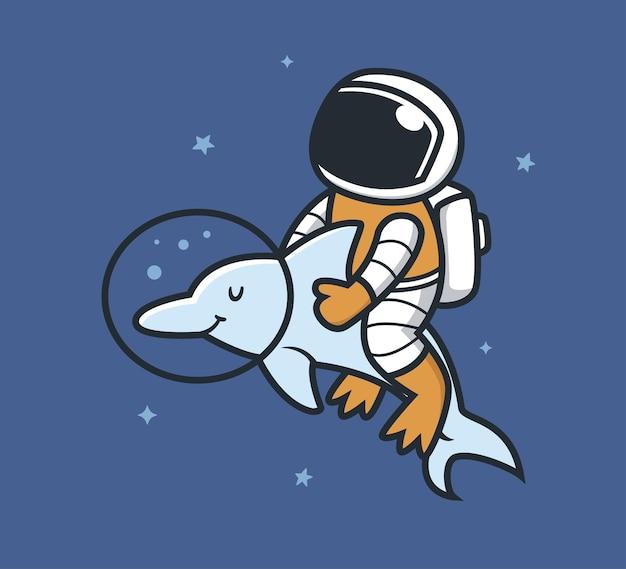 Astronaut en dolfijnen in de ruimte