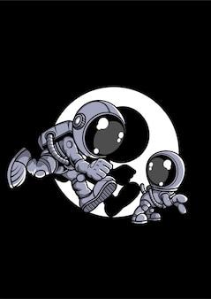 Astronaut en kleine hond stripfiguur