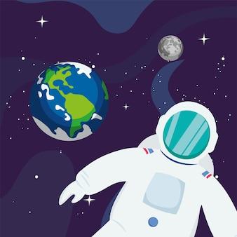 Astronaut en planeet aarde in de ruimte van het universum