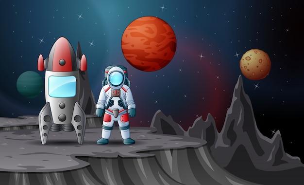 Astronaut en raket landden op de planeet