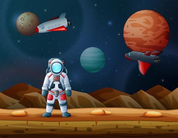 Astronaut en raket landden op een maan met buitenaardse planeten
