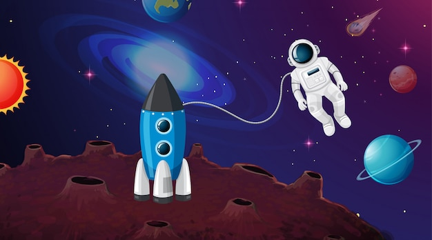 Astronaut en raketscène of achtergrond