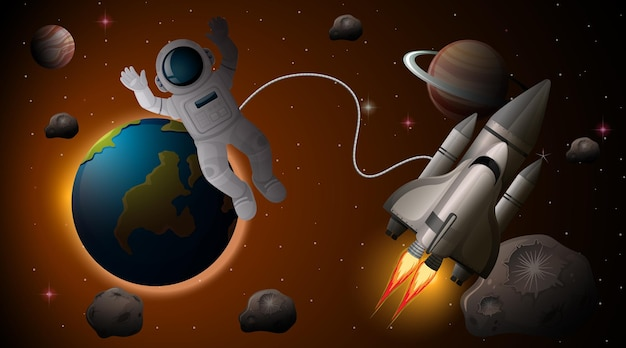 Astronaut en ruimteschip in de ruimtescène