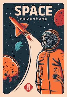 Astronaut en ruimteschip, ruimtevaarder op raketvlucht