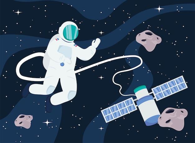 Astronaut en satelliet in de ruimte van het universum
