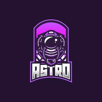Astronaut esport gaming mascotte logo sjabloon voor streamer team.