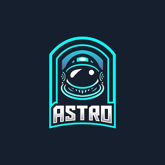 Astronaut esport gaming mascotte logo sjabloon voor streamer team.