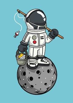 Astronaut fishing illustratie in de hand getekend