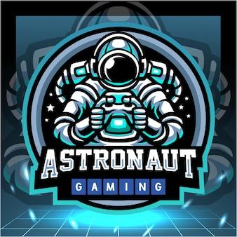 Astronaut gaming-mascotte esport-logo-ontwerp Premium Vector