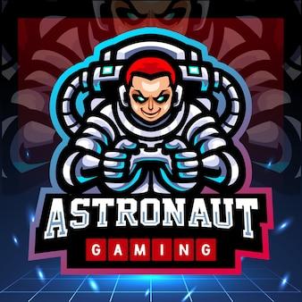 Astronaut gaming-mascotte esport-logo-ontwerp