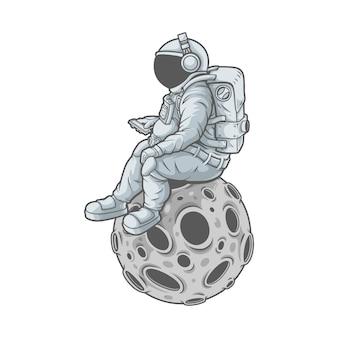 Astronaut geniet van muziek
