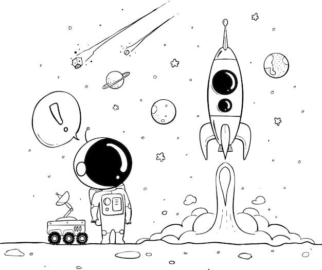 Astronaut hand getrokken