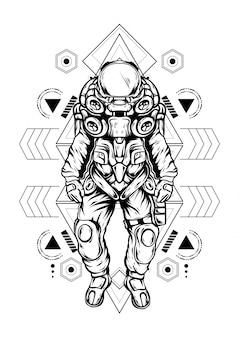 Astronaut heilige geometrie