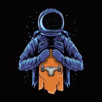 Astronaut houdt een skateboard vast in het donker