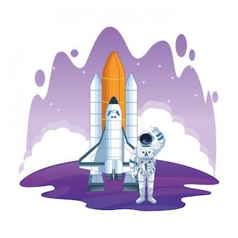 Astronaut in cartoons van verkenning van de ruimte