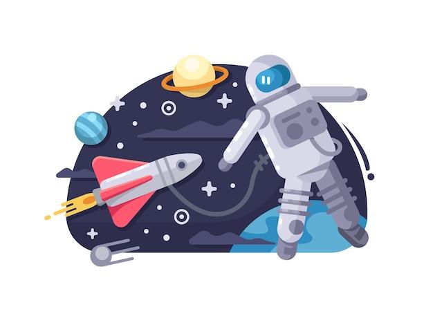 Astronaut in de ruimte. kosmonaut die in kosmos dichtbij het ruimtevaartuig vliegt. vector illustratie