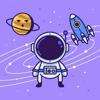 Astronaut in de ruimte met planeet en raket vectorillustratie van ruimte ontwerp achtergrond