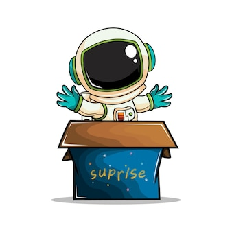 Astronaut in doos cartoon